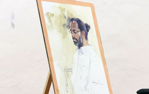 Portrait-painting-demo-from-life-by-Vasudeo-Kamath
