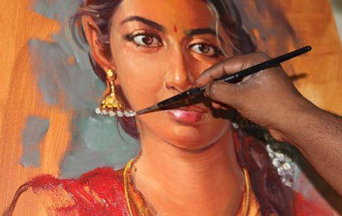 creative-Portrait-painting-demo-from-life-by-Vasudeo-Kamath